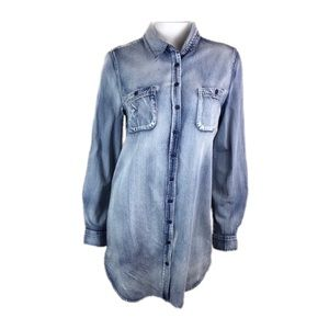 HIPPIE LAUNDRY Distressed Chambray  Button Down L